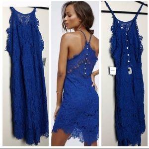 NWT Free People She's Got It blue lace slip dress